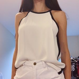 Zara white chiffon sleeveless top with black trim